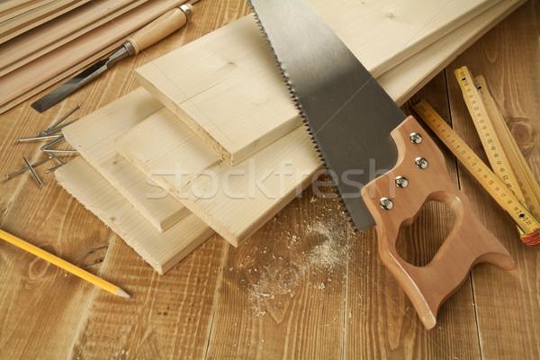 Photo stock: Bois · travail · travaux · outils · main