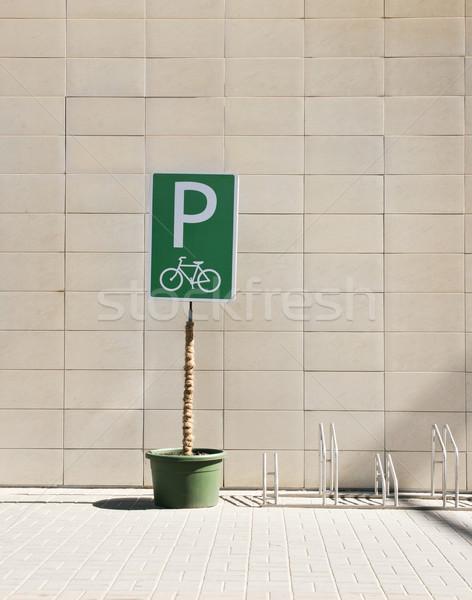 Vélo parking ville résumé été signe Photo stock © donatas1205