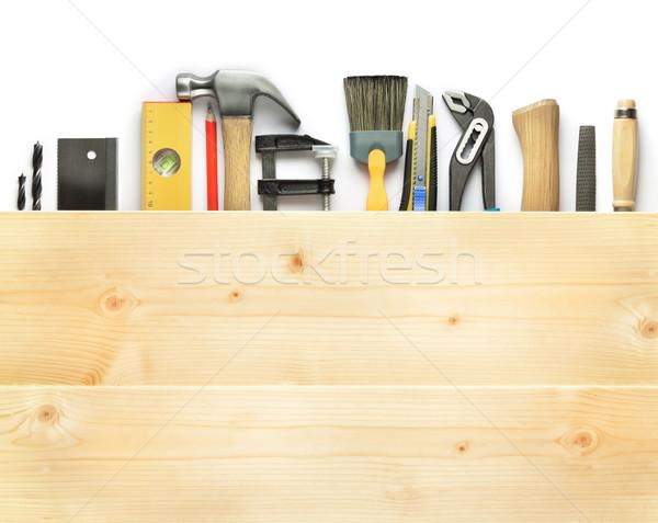ácsmesterség szerszámok fa palánk munka ceruza Stock fotó © donatas1205