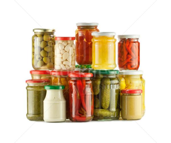 Encurtidos en conserva hortalizas blanco alimentos Foto stock © donatas1205