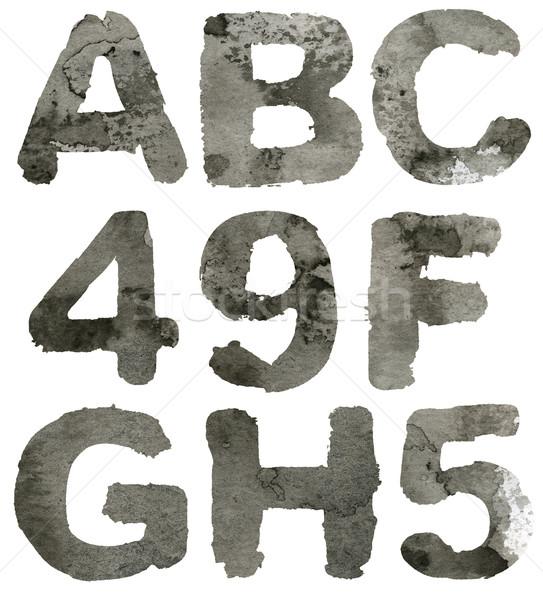 Alfabeto grigio inchiostro isolato design Foto d'archivio © donatas1205