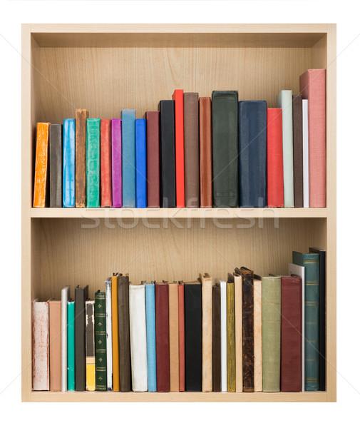Boeken oude houten plank papier textuur Stockfoto © donatas1205