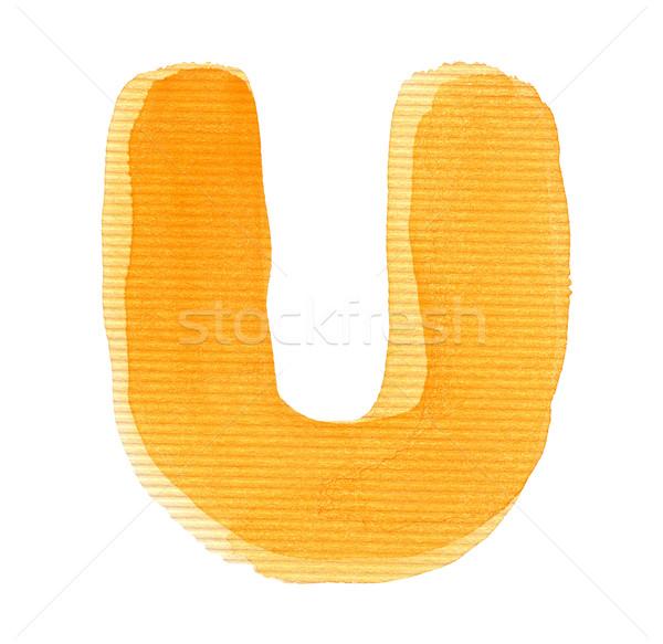 水彩画 手紙 アルファベット 孤立した 紙 ストックフォト © donatas1205