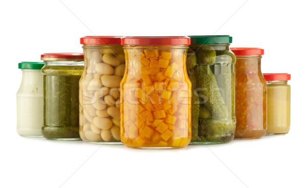 Megőrzött zöldségek izolált fehér üveg narancs Stock fotó © donatas1205