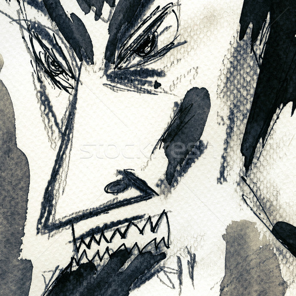 сатана лице окрашенный бумаги человека аннотация Сток-фото © donatas1205