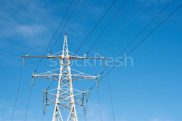 Güç hat güç kaynağı gökyüzü kar Stok fotoğraf © donatas1205