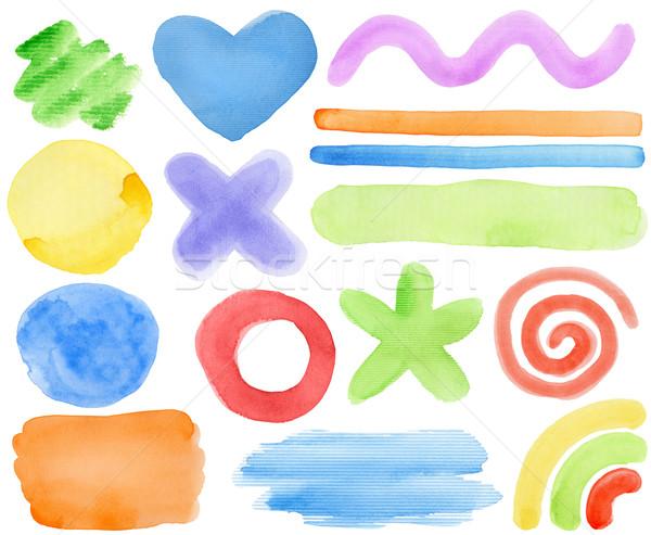 Vízfesték elemek kéz festett terv szeretet Stock fotó © donatas1205
