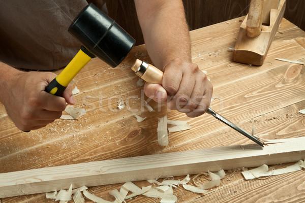 Hout werken workshop timmerman beitel bouw Stockfoto © donatas1205