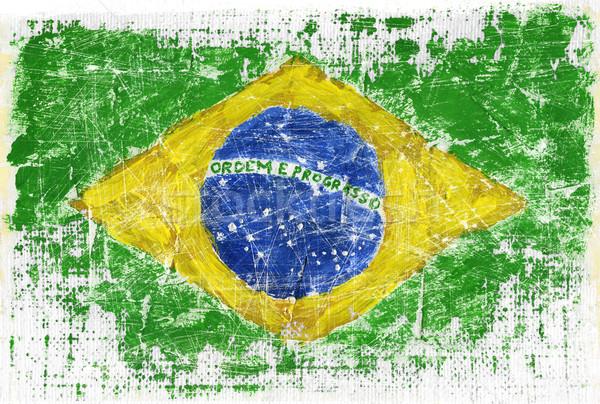 ストックフォト: グランジ · フラグ · ブラジル · テクスチャ · スポーツ · サッカー