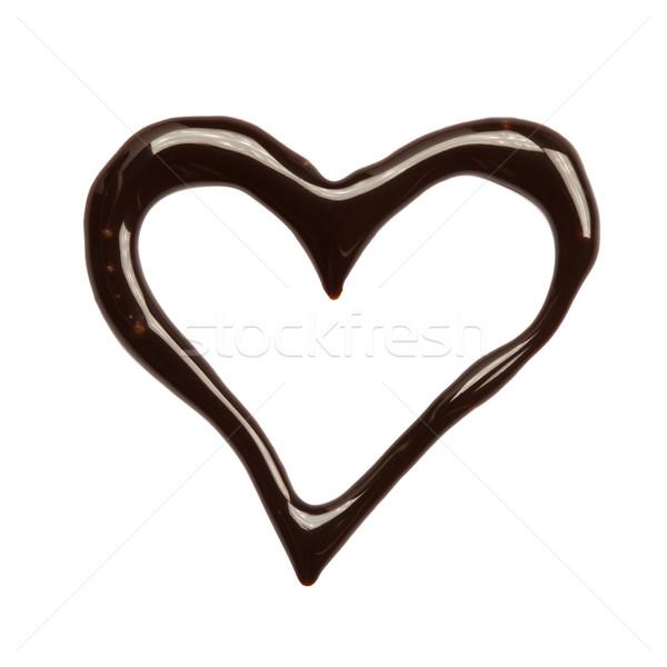 Cuore sciroppo di cioccolato bianco alimentare amore Foto d'archivio © donatas1205