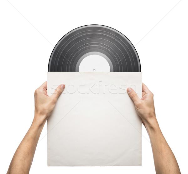 Vinyl record handen papier geval Stockfoto © donatas1205