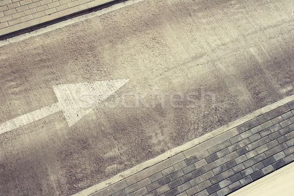 Estrada vazio direção seta calçada lata Foto stock © donatas1205