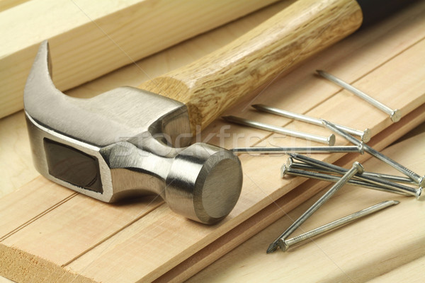 Photo stock: Bois · travail · bois · marteau · clous