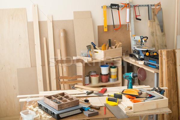 Tamplarie dulgherie atelier Unelte lemn Imagine de stoc © donatas1205