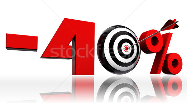 forty per cent red discount symbol with conceptual target  Stock photo © donskarpo