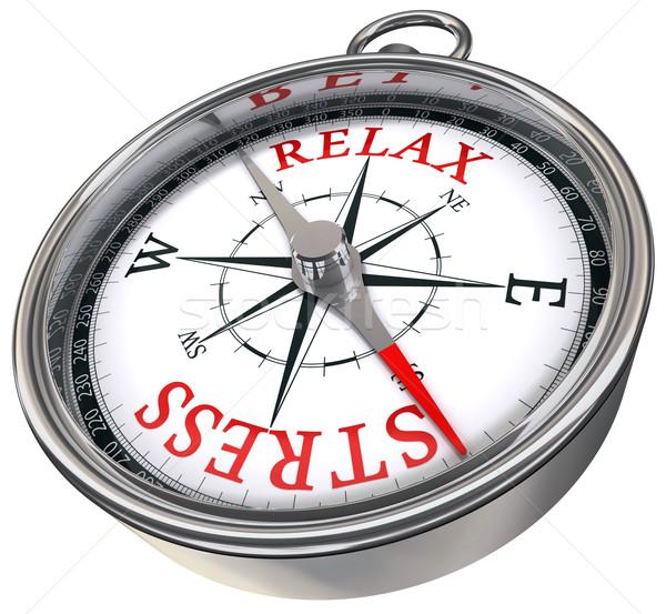 Ontspannen vs stress kompas Rood woorden Stockfoto © donskarpo