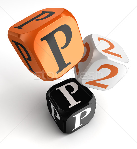 P2p orange black dice blocks  Stock photo © donskarpo
