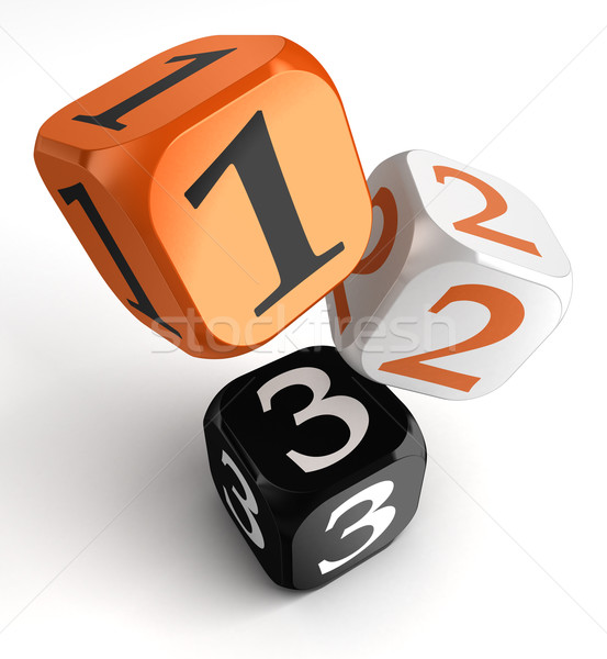 one, two and three numbers on orange black dice blocks Stock photo © donskarpo