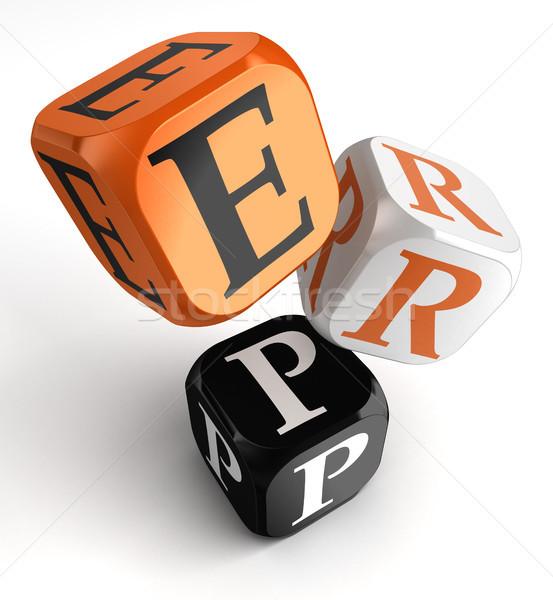 Erp orange black dice blocks Stock photo © donskarpo