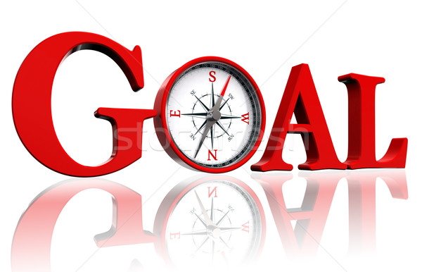 Stock photo: goal red word and conceptual compass