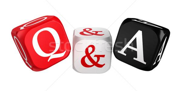 Kérdések válaszok piros fehér fekete kocka Stock fotó © donskarpo
