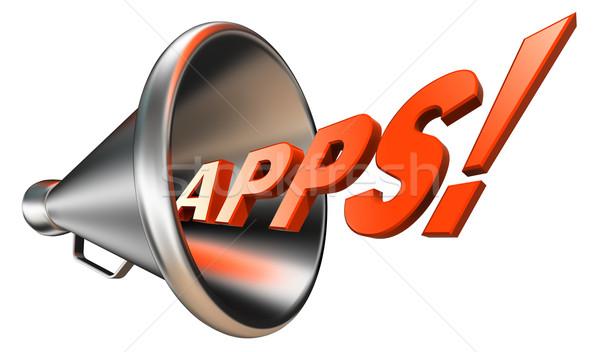 Foto stock: Aplicativos · laranja · palavra · megafone · branco