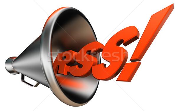 Rss oranje woord metaal internet ontwerp Stockfoto © donskarpo