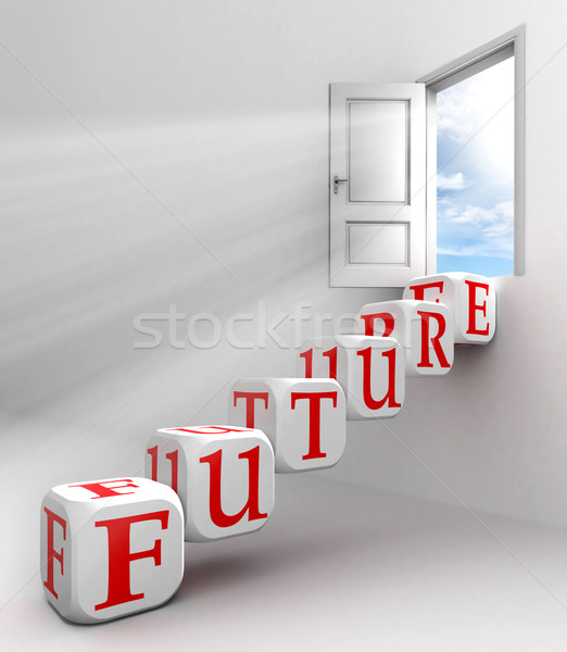 Futuro rojo palabra puerta cielo cuadro Foto stock © donskarpo