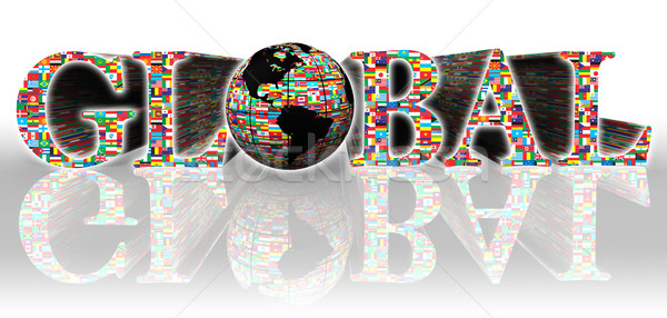 Globale parola bandiere terra mondo bianco Foto d'archivio © donskarpo