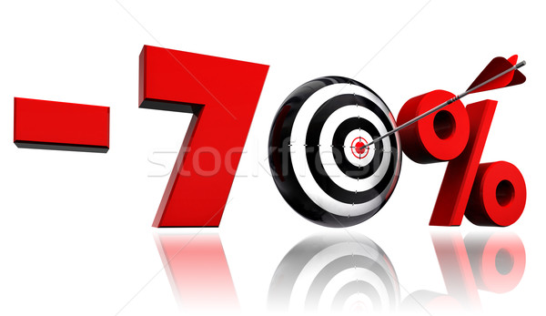 seventy per cent red discount symbol with target and arrow Stock photo © donskarpo