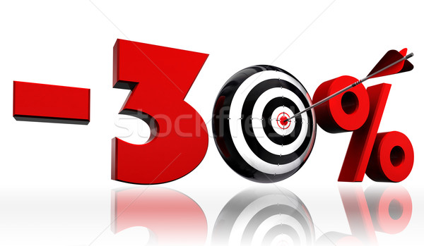 thirty per cent 30% red discount symbol with conceptual target Stock photo © donskarpo