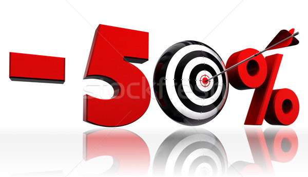 fifty per cent 50% red discount symbol with conceptual target  Stock photo © donskarpo