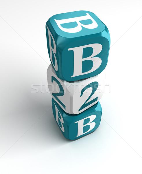 b2b blue white box tower Stock photo © donskarpo