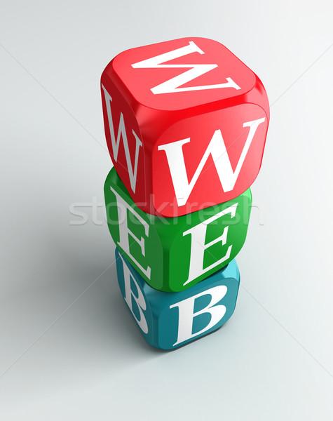 Web teken 3D kleurrijk toren Stockfoto © donskarpo