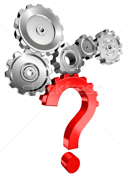 red question mark with metal cog Stock photo © donskarpo