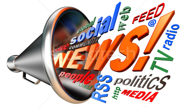 news word tag cloud and bullhorn Stock photo © donskarpo