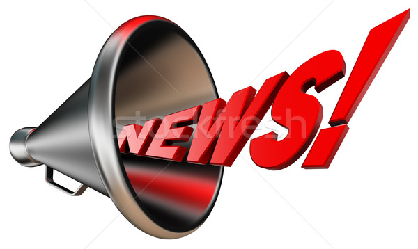 news red word and metal bullhorn Stock photo © donskarpo