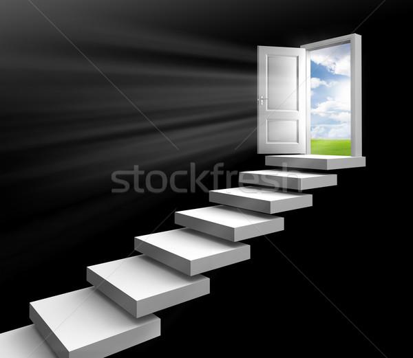 Dzień świetle pokój drzwi otwartych drzwi schody Zdjęcia stock © donskarpo