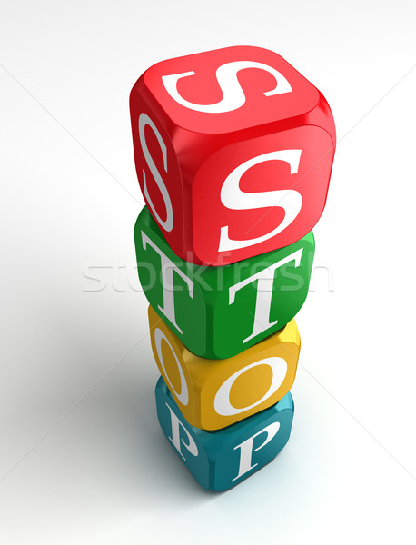 stop sign 3d colorful box tower Stock photo © donskarpo