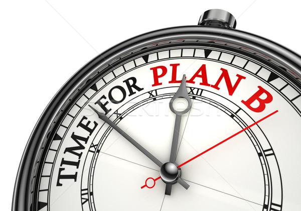 Zaman plan b saat beyaz kırmızı Stok fotoğraf © donskarpo