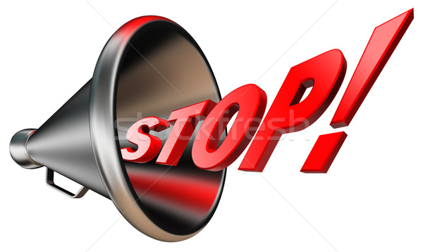stop red word in bullhorn  Stock photo © donskarpo
