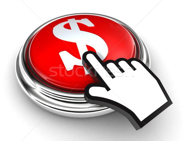 Dollar symbool Rood knop hand cursor Stockfoto © donskarpo