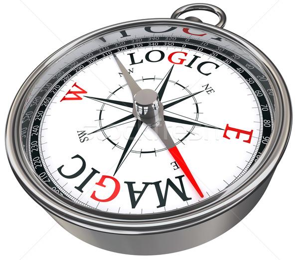 Logika vs mágikus iránytű izolált fehér Stock fotó © donskarpo