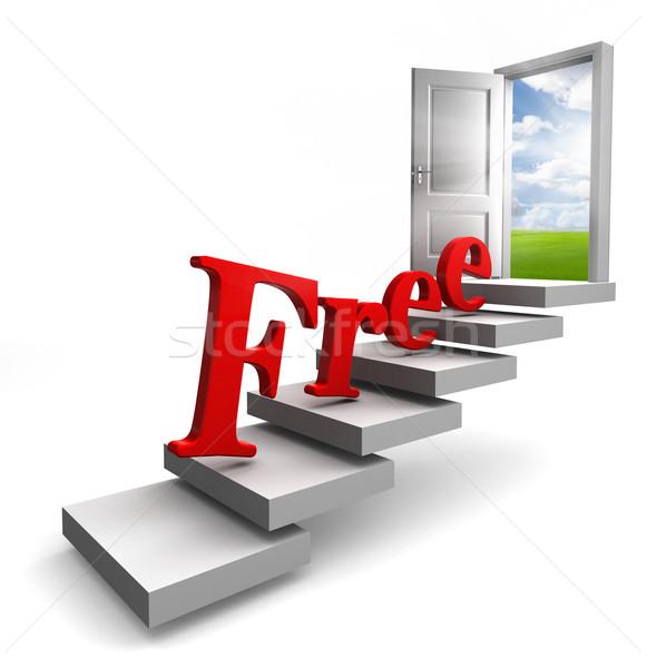 free red word on stair up to door Stock photo © donskarpo