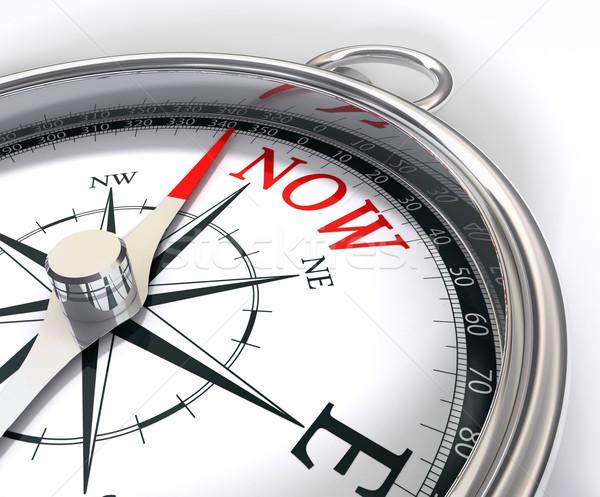 Aanwezig kompas nu afbeelding noorden woord Stockfoto © donskarpo