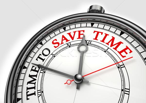Tiempo guardar reloj primer plano blanco rojo Foto stock © donskarpo