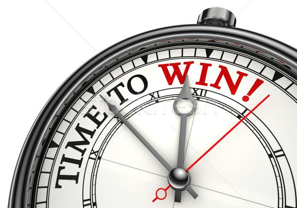 Tiempo ganar reloj primer plano blanco rojo Foto stock © donskarpo