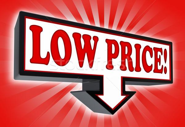 Basso prezzo segno arrow giù rosso Foto d'archivio © donskarpo