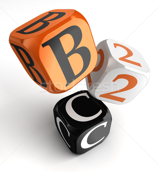 b2c orange black dice blocks Stock photo © donskarpo