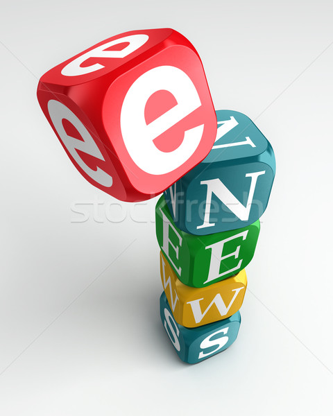 e news sign 3d colorful box tower Stock photo © donskarpo